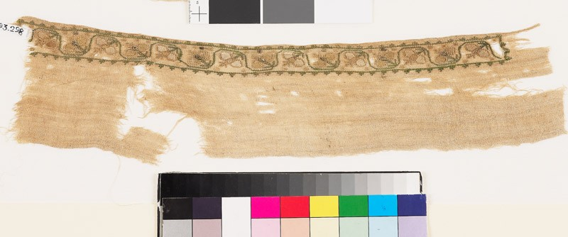 Textile fragment with scrolling stem and stylized flower-heads