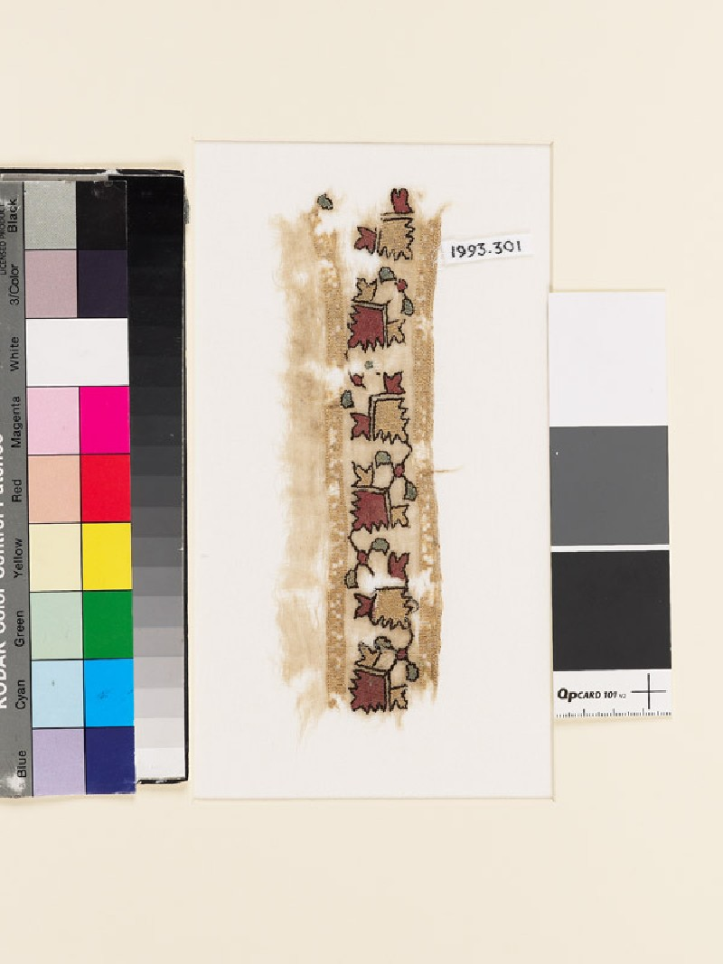 Textile fragment with stylized flower-shapes (EA1993.301, front            )