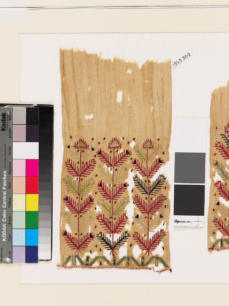 Textile fragment with stylized plants and chevrons