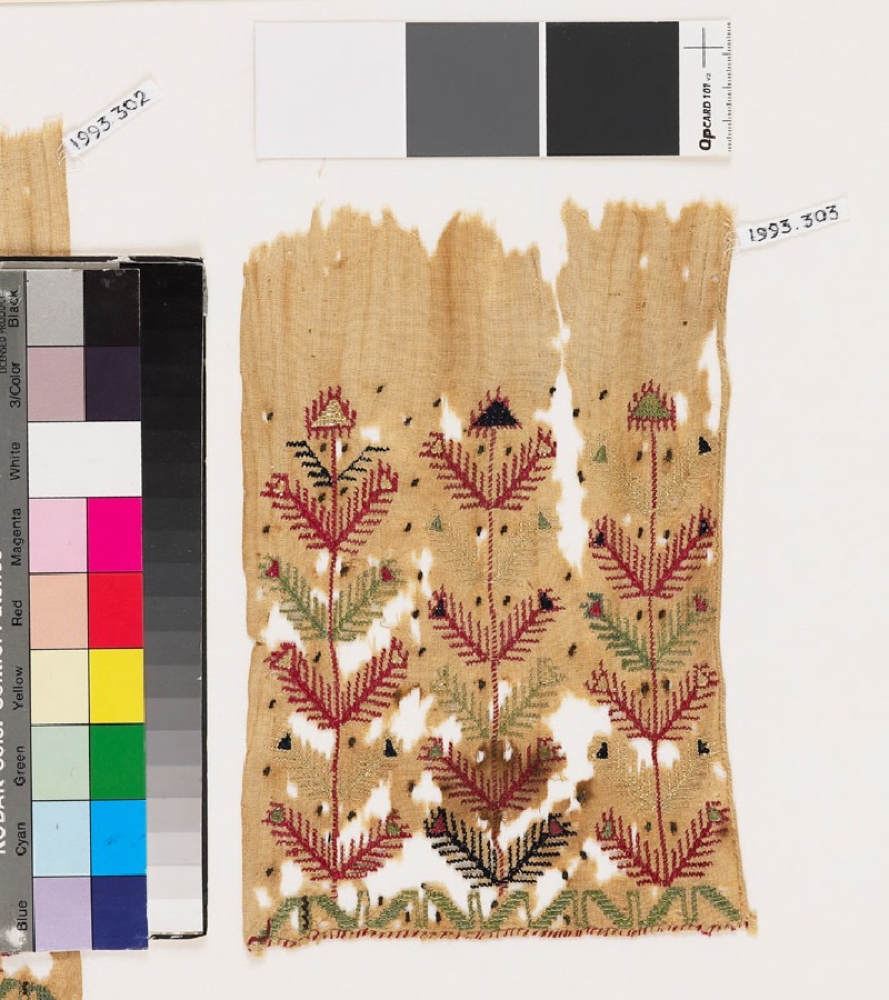 Textile fragment with stylized plants and chevrons (front            )