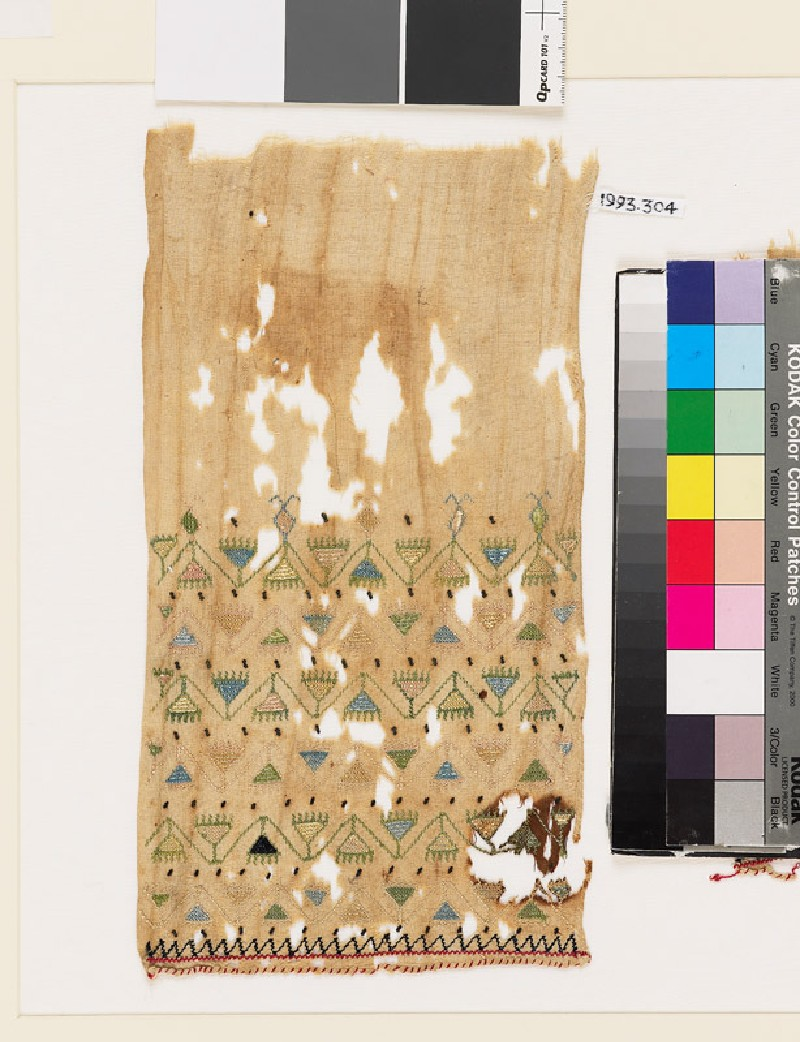Textile fragment with chevron stems, triangular flowers, and zigzag (EA1993.304, front            )