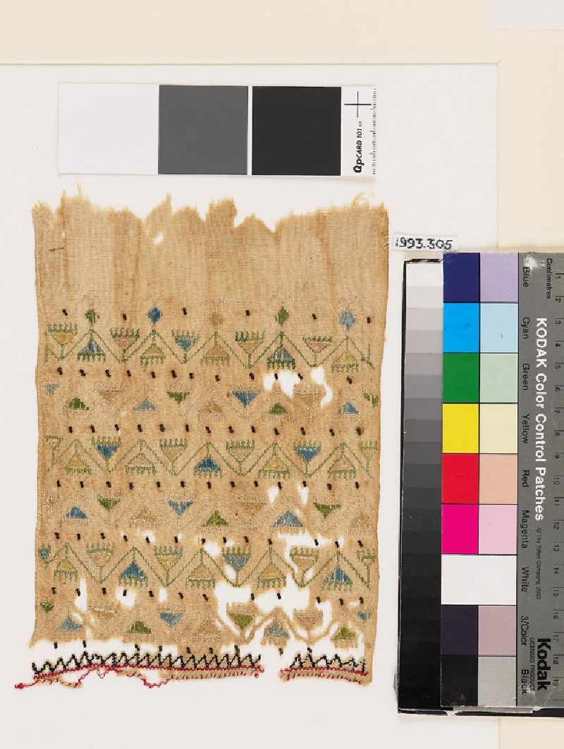 Textile fragment with chevron stems, triangular flowers, and zigzag (front            )