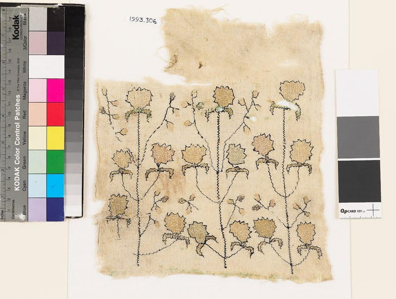 Textile fragment with stylized flowers and leaves (EA1993.306, front            )