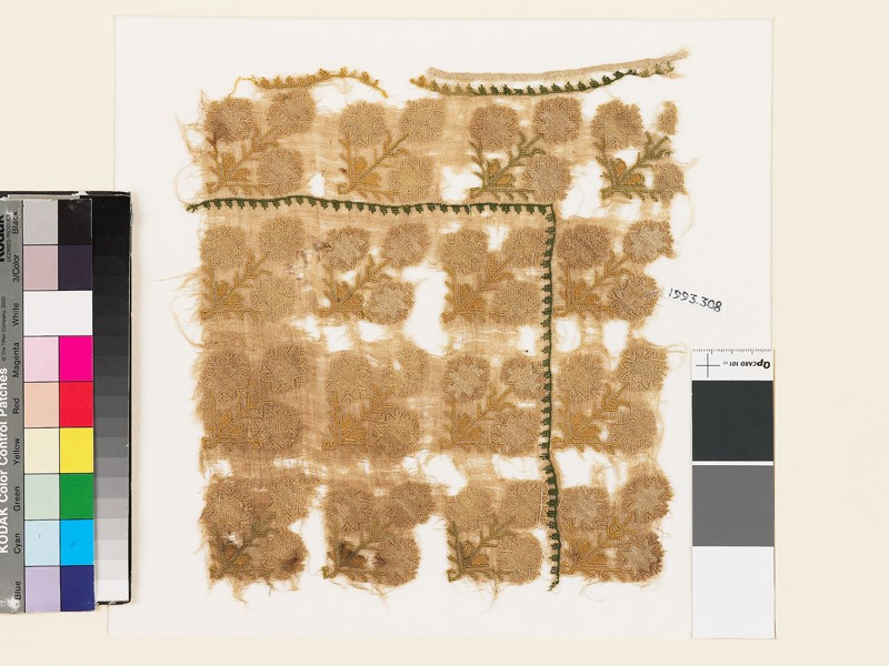 Textile fragment with stylized floral shapes (EA1993.308, front            )