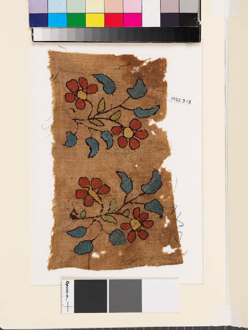Textile fragment with two floral sprays