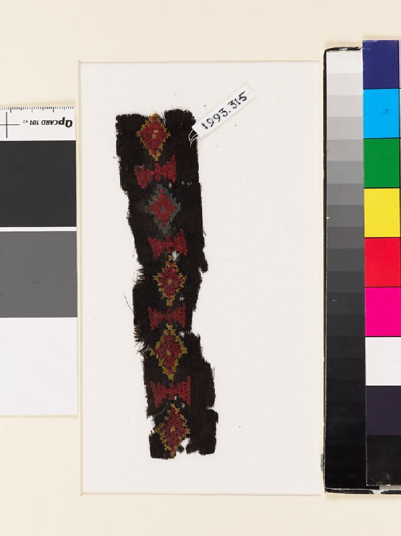 Textile fragment with diamond-shapes and triangles (EA1993.315, front            )