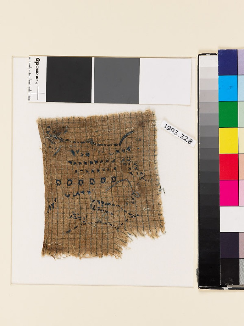 Textile fragment with lines and circles