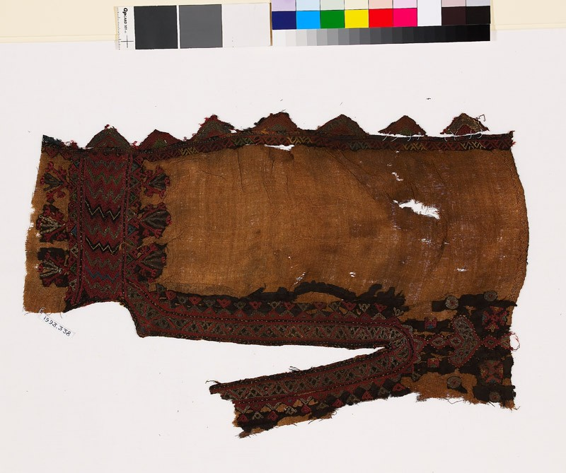 Textile fragment from the neck of a dress with stylized floral shapes (EA1993.338, front            )