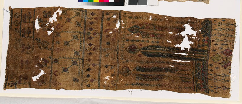 Sampler with stylized flowers and leaves, diamond-shapes, and V-shapes (EA1993.342, front            )