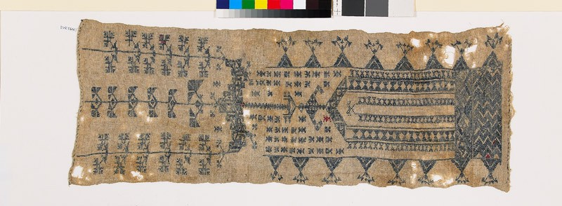 Sampler with floral shapes, V-shapes, pendant, and chevrons (EA1993.343, front            )