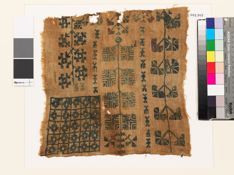 Sampler with floral shapes and chequerboard pattern (EA1993.345, front            )