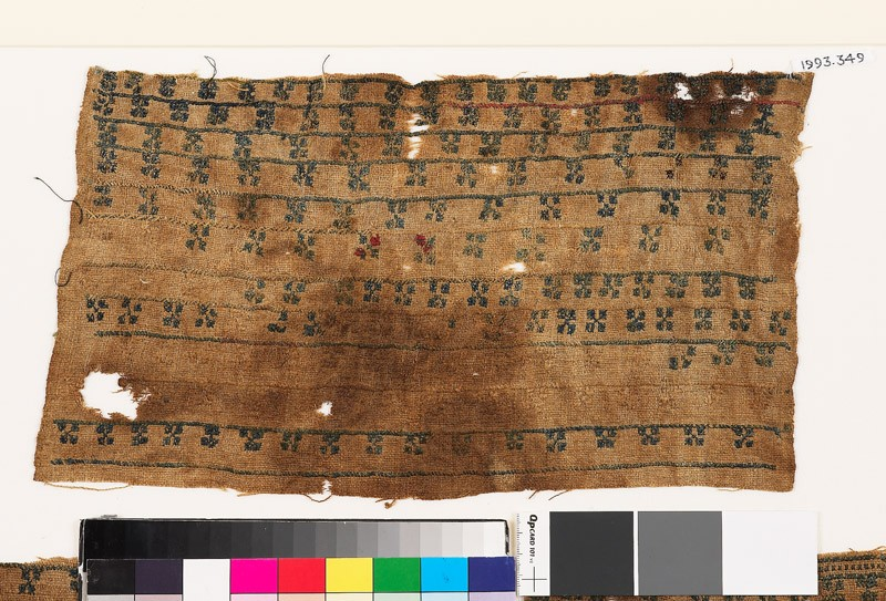 Textile fragment with bands of diagonal crosses