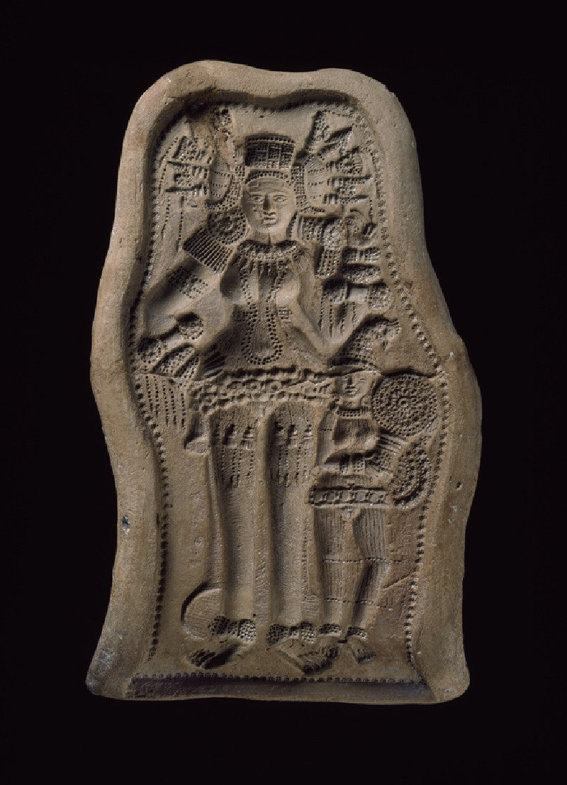 Mould for a plaque with a bejewelled goddess or yakshi (nature spirit) with female attendant
