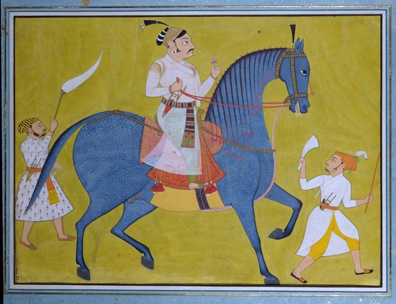 Maharaja Pratap Singh of Sawar riding, with two attendants on foot