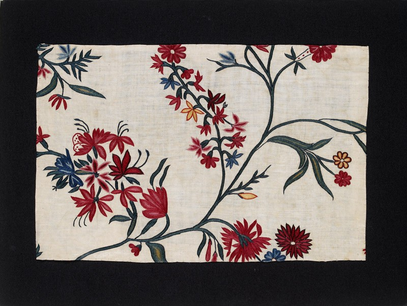 Textile fragment with flowering branches or fronds