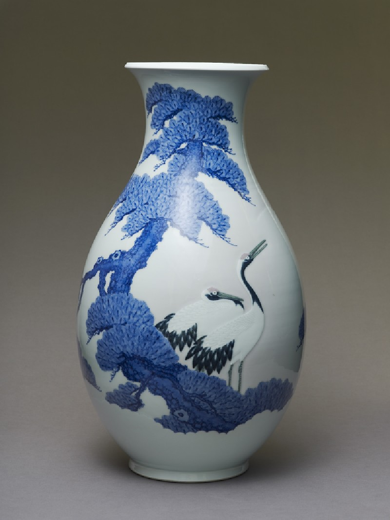 Inverted baluster vase with two cranes (EA1993.399, side            )