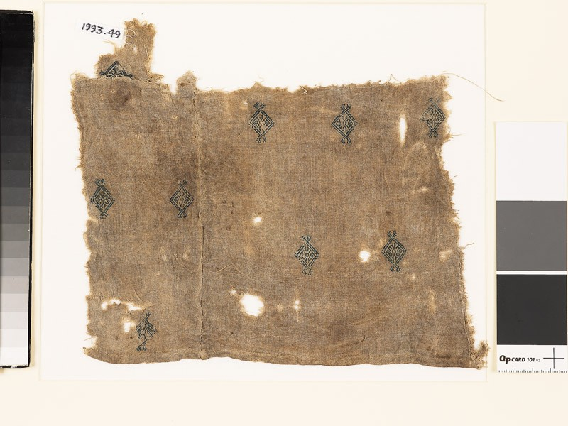 Textile fragment with diamond-shapes and palmettes, probably from a tunic (front           )