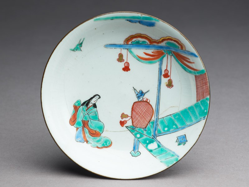 Saucer depicting a woman in Heian period dress with a bird (EA1993.6, top          )