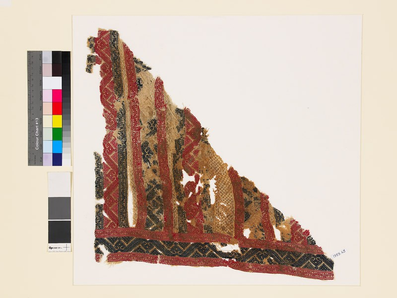 Textile fragment with palmettes and geometric shapes (front           )