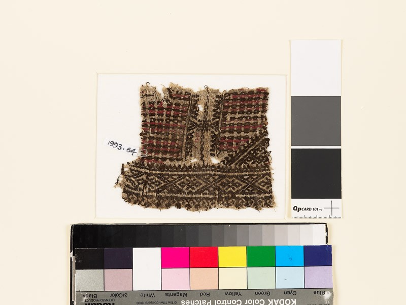 Textile fragment with check pattern and hexagons (EA1993.64, front           )