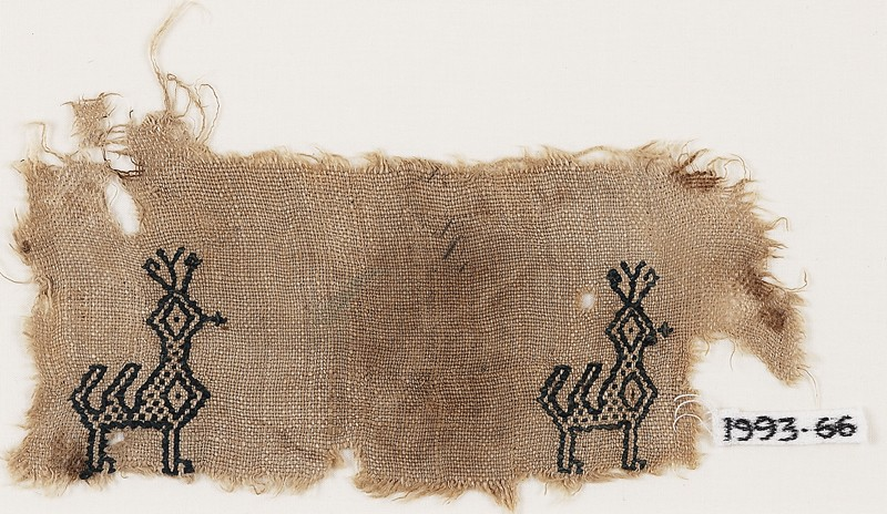 Textile fragment with two peacocks (front           )