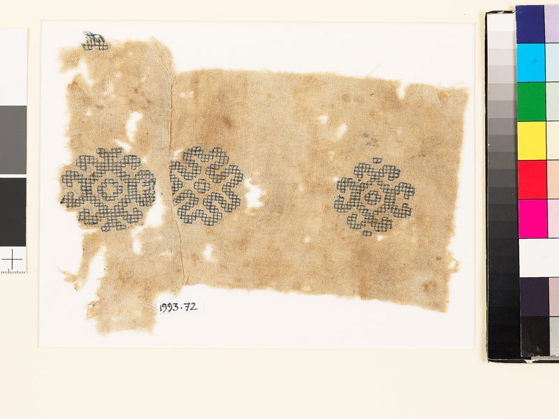 Textile fragment with three medallions (front           )