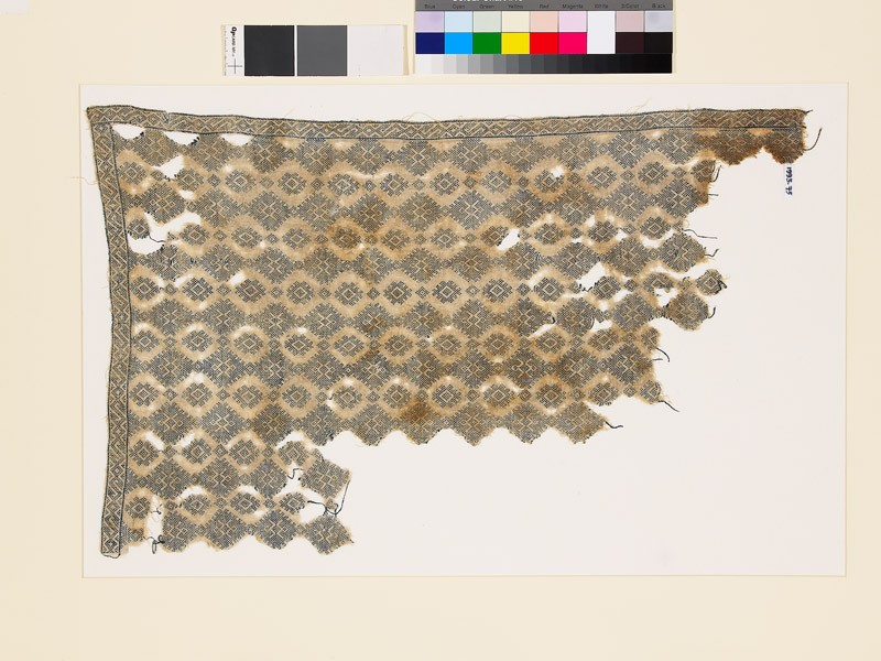 Textile fragment with diamond-shapes and geometric patterns (EA1993.75, front           )