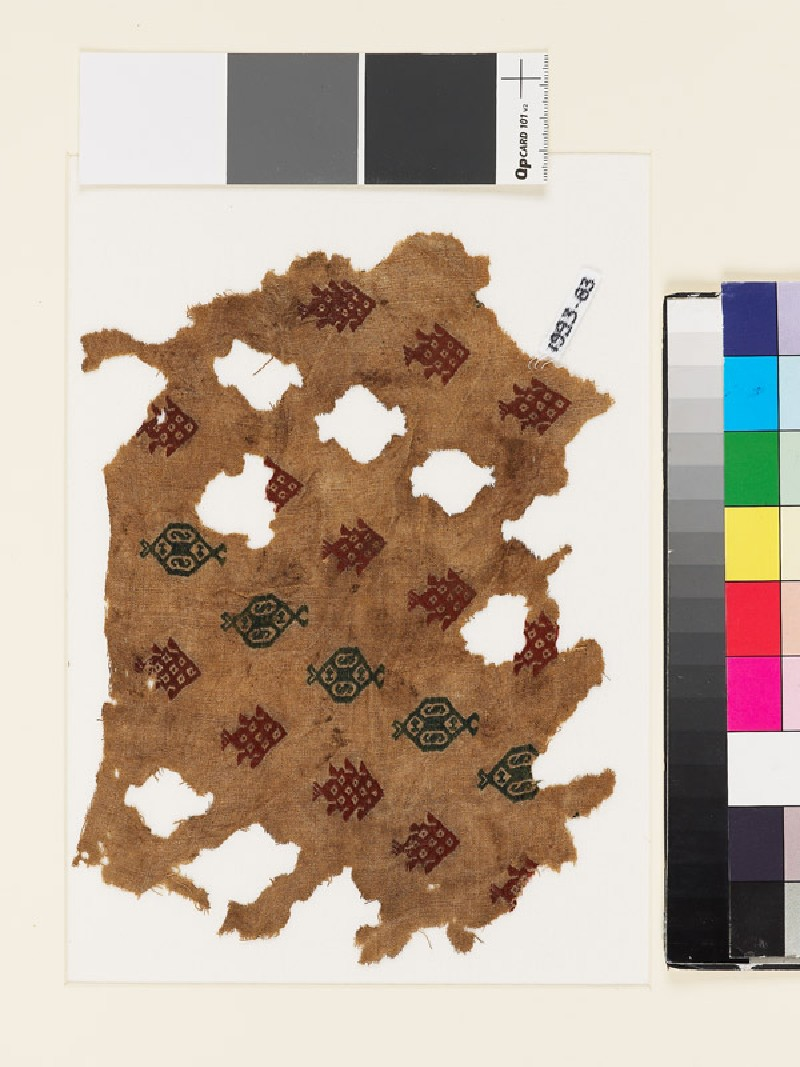 Textile fragment with fish and hexagonal medallions