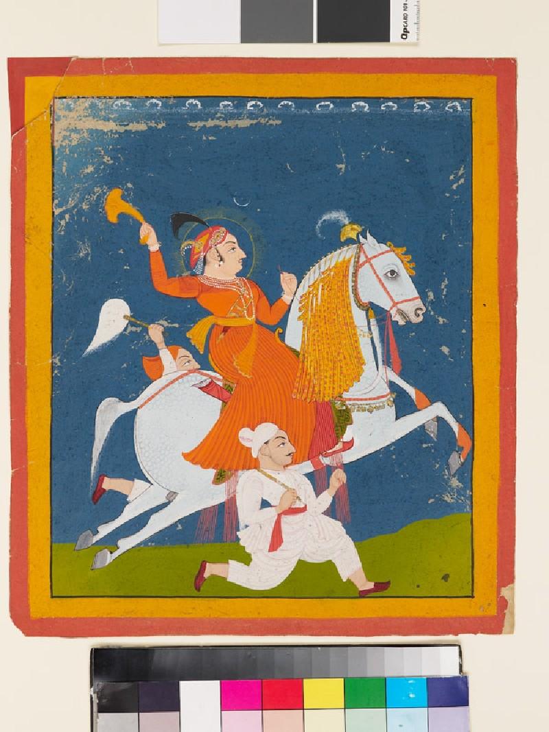 Equestrian portrait of Maharana Bhim Singh of Mewar (front          )