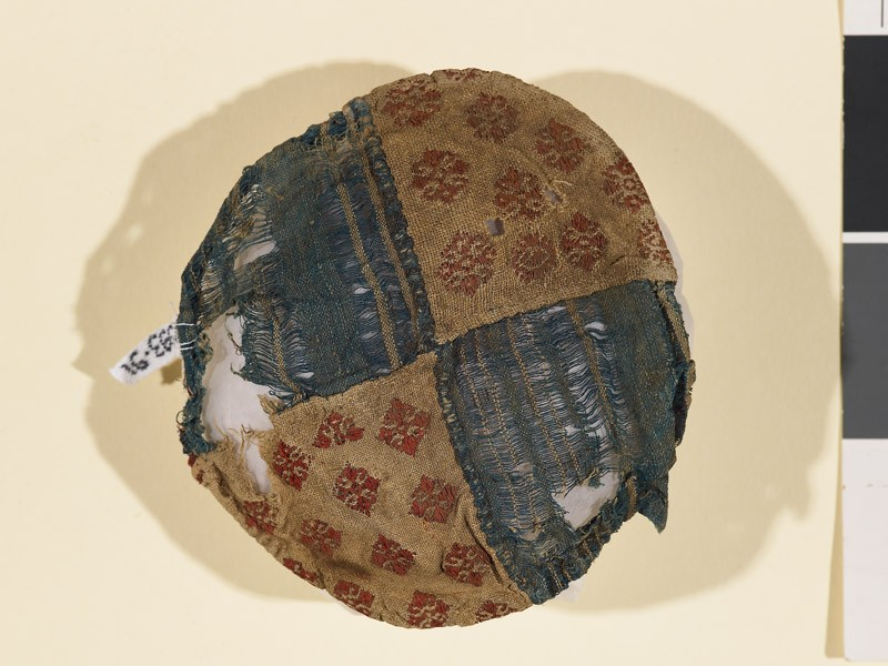 Textile fragment with stripes and palmettes, probably a jar cover