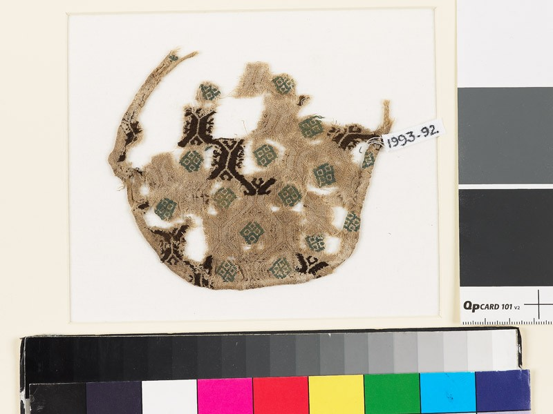 Textile fragment with hexagons and diamond-shapes, probably a jar cover