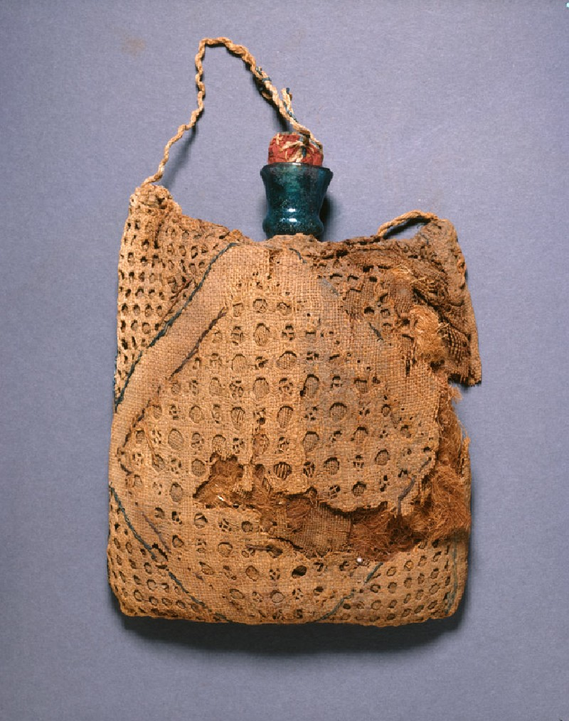 Pilgrim's flask in an embroidered linen bag (EA1994.113, front            )
