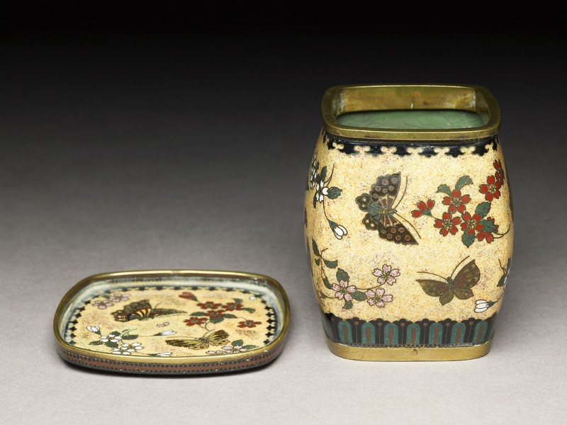 Tobacco jar and stand with butterflies and flowers (oblique            )