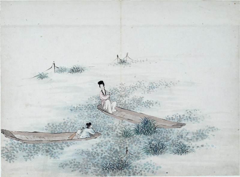 Two figures seated in two boats