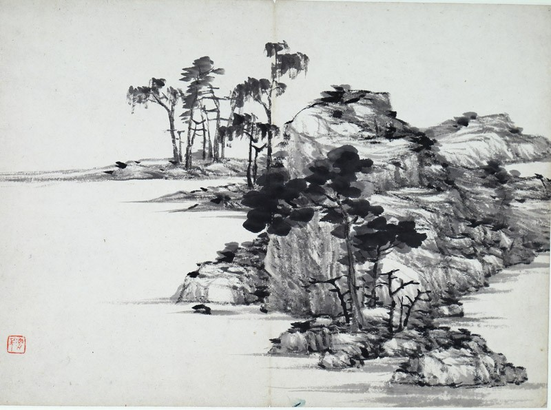 Landscape with rocks and trees (front              )