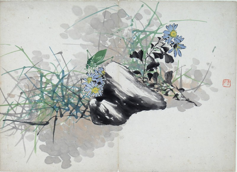 Blue and yellow flowers behind a rock (EA1995.236.n, front              )