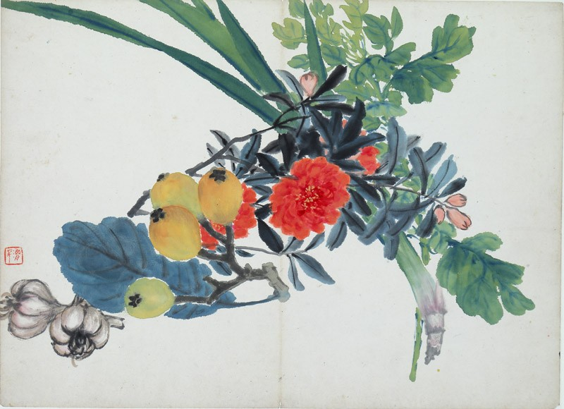 Orange flowers, loquats, and garlic (EA1995.236.s, front              )