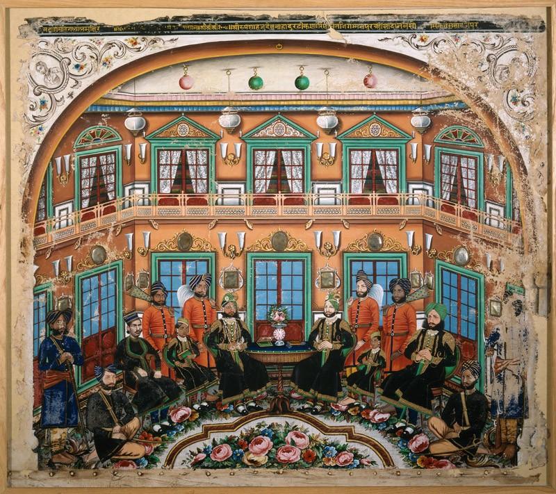 Rajput noblemen in an interior (front           )