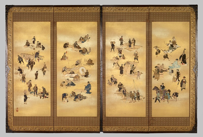Screen depicting the four classes of Edo Japan (EA1995.87, front, Cat. No. 45           )