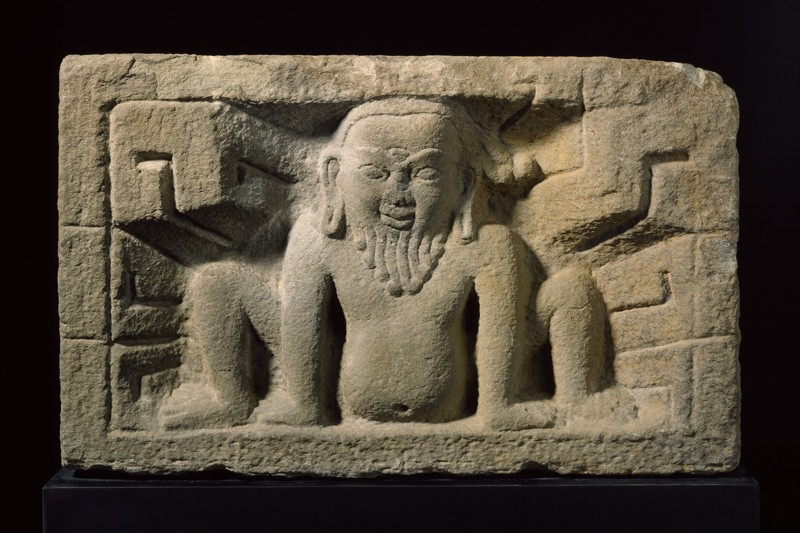 Stone slab with yaksha, or nature spirit, in relief (EA1995.95, front           )