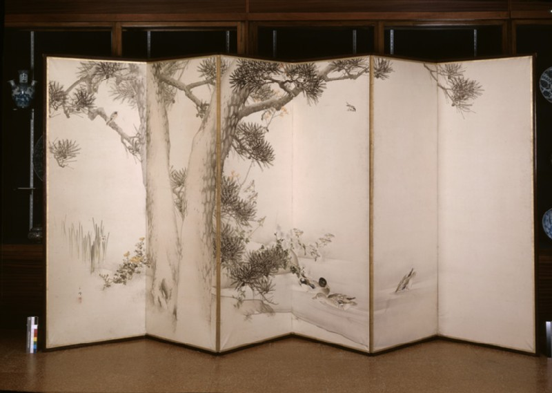 Six-fold screen depicting mallards and other birds under a pine tree, with autumn flowers