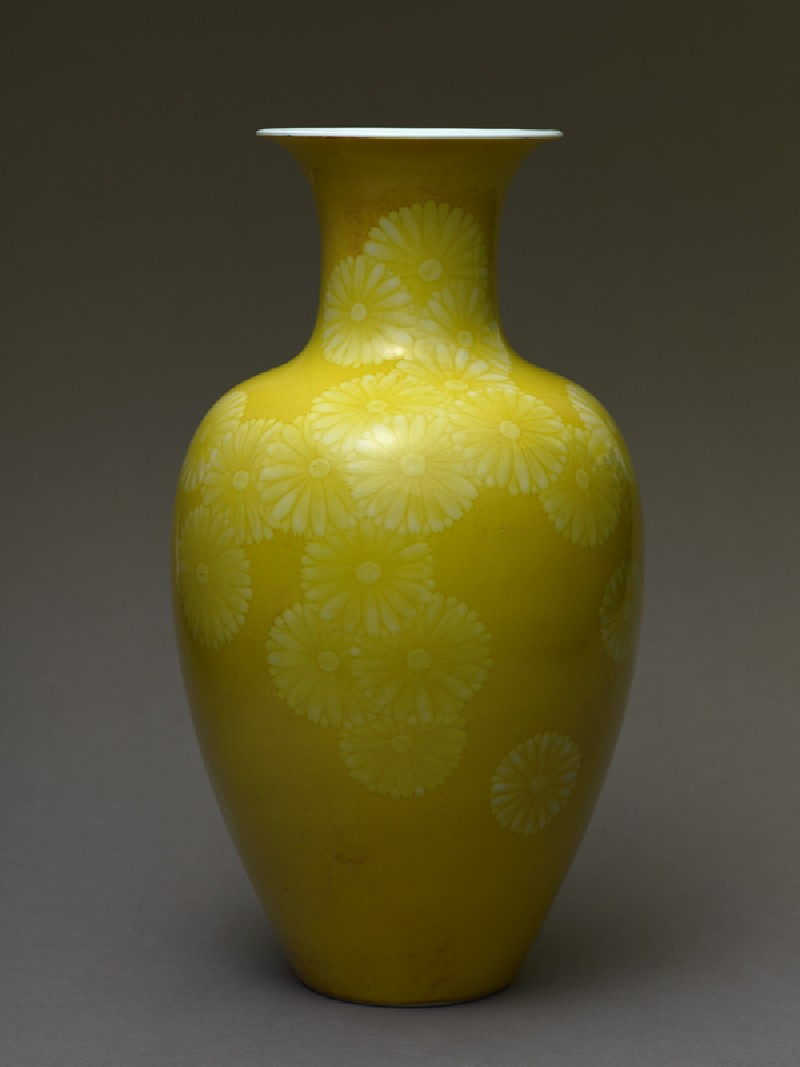 Baluster vase with stylized chrysanthemums