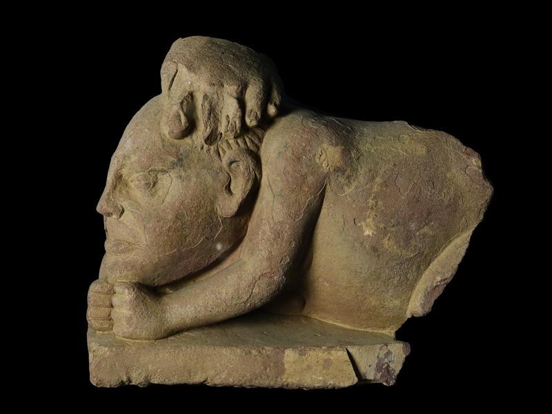 Fragmentary figure of a crouching yaksha, or nature spirit (EA1996.76, front           )