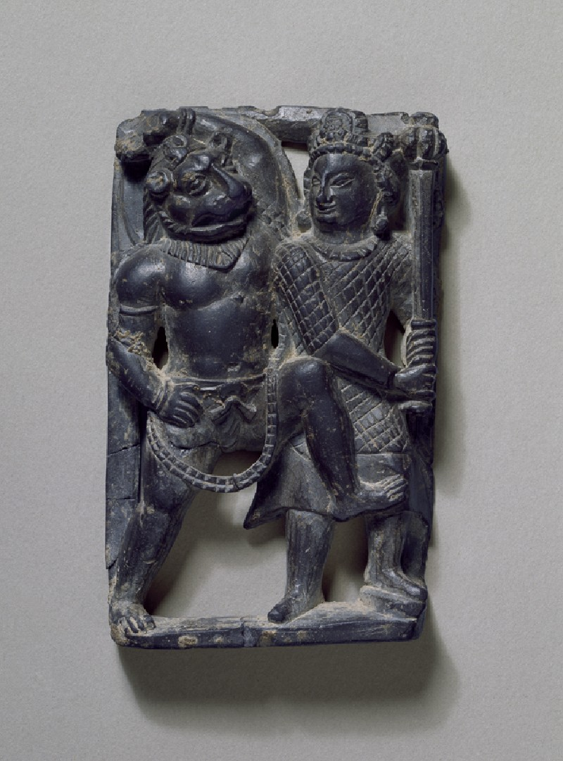 Stone plaque of Narasimha slaying the demon Hiranyakashipu (EA1996.78, front           )