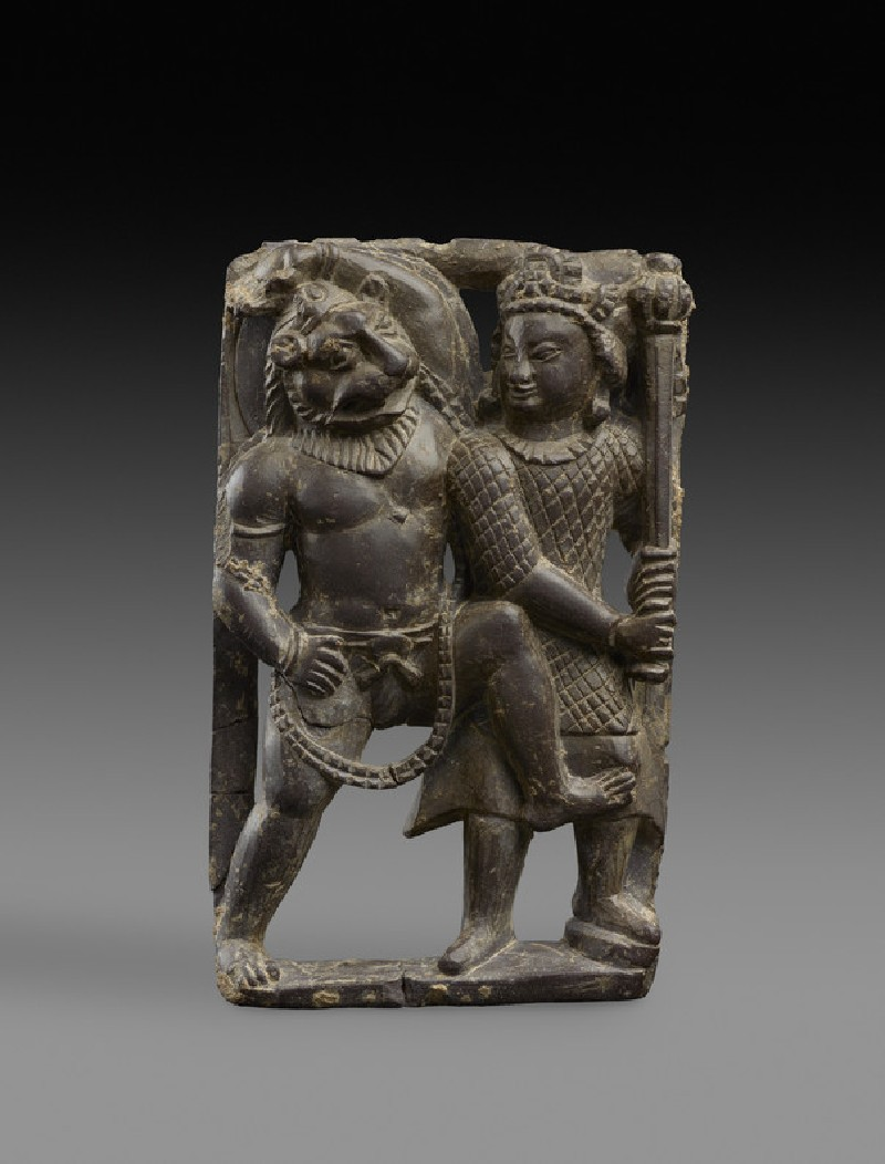 Stone plaque of Narasimha slaying the demon Hiranyakashipu (EA1996.78)