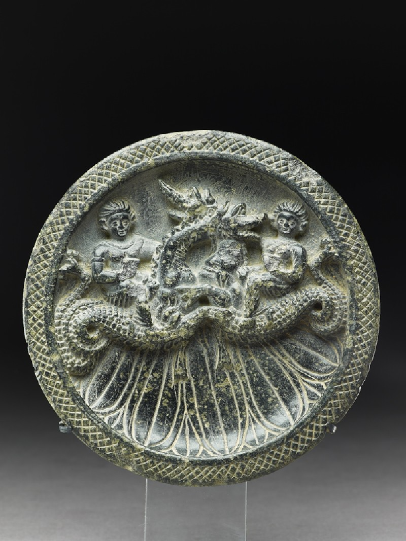 Palette with Nereids, or sea nymphs, riding ketoi, or sea monsters (front           )