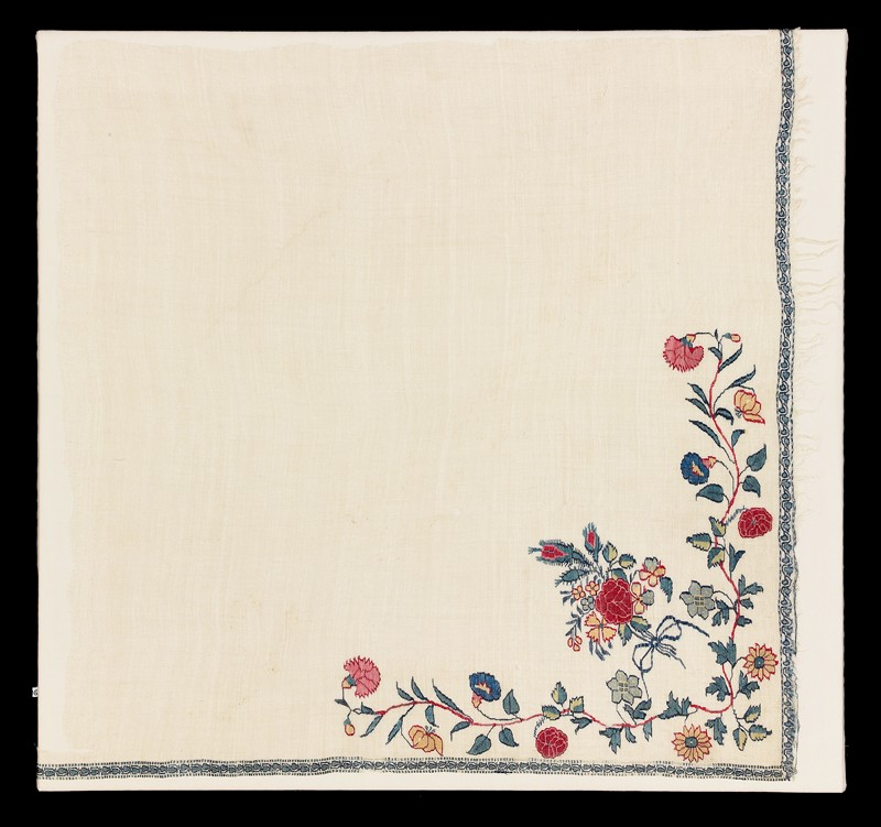 Shawl border fragment with floral design (front           )