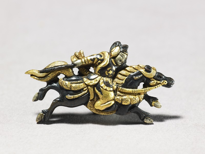 Menuki in the shape of mounted samurai (EA1997.119.a, front              )