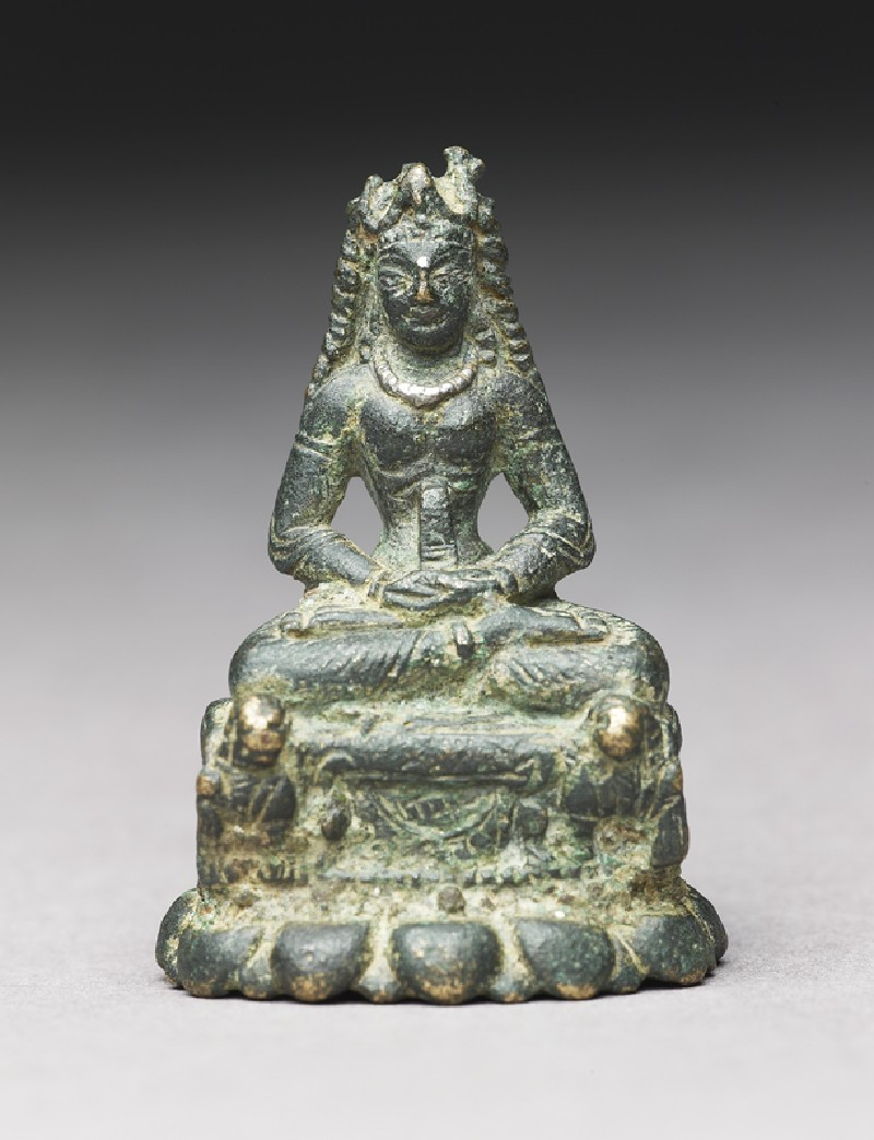 Figure of Chandu or Prajnaparamita seated on lion throne
