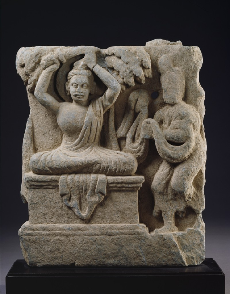 Relief fragment depicting Prince Siddhartha, the future Buddha, cutting his hair in renunciation (EA1997.246, front            )